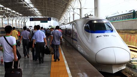 Boarding Train In China