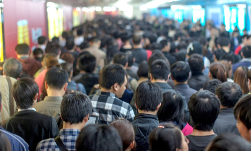 Crowd Subway in Beijing China